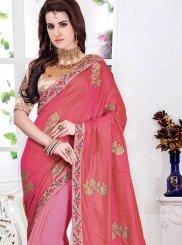 Pink Mehndi Designer Half N Half Saree