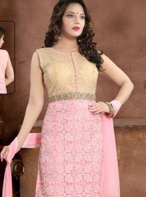 Pink Net Salwar Suit