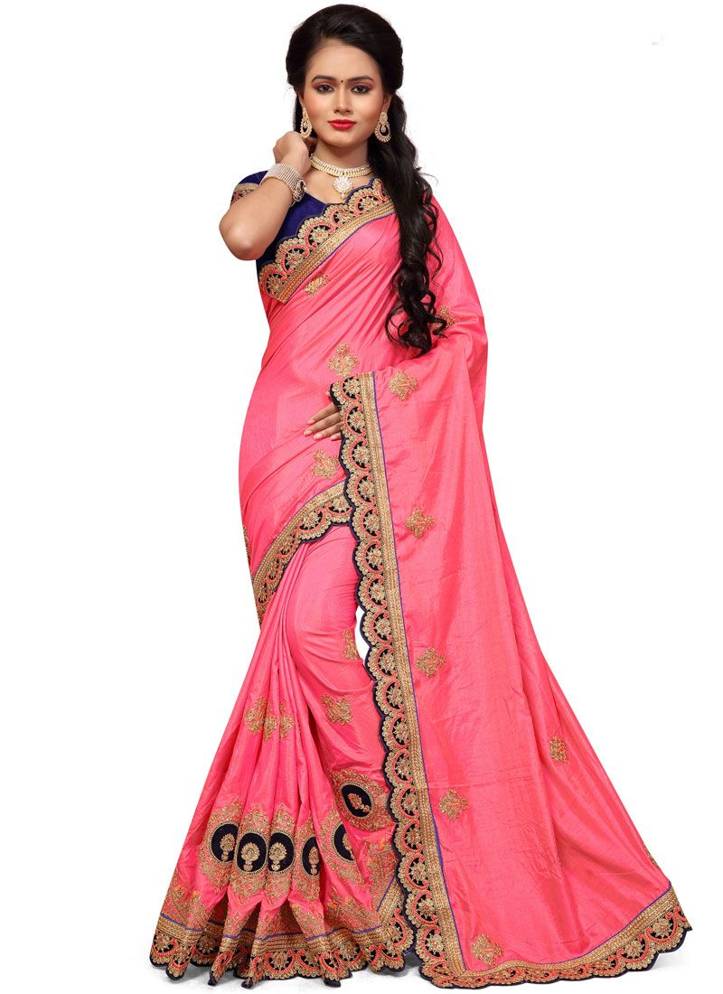 Pink Patch Border Work Art Silk Traditional Designer Saree