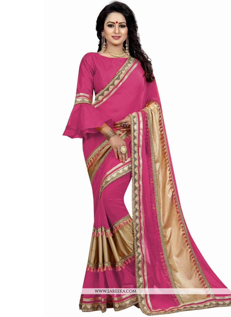 Pink Patch Border Work Traditional  Saree