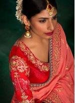 Pink Patch Border Work Viscose Traditional Designer Saree