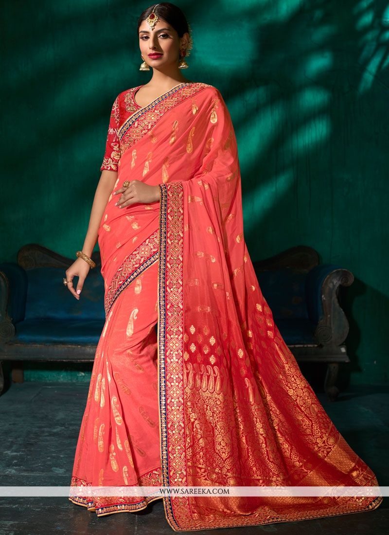 Pink Patch Border Work Viscose Traditional Designer Saree
