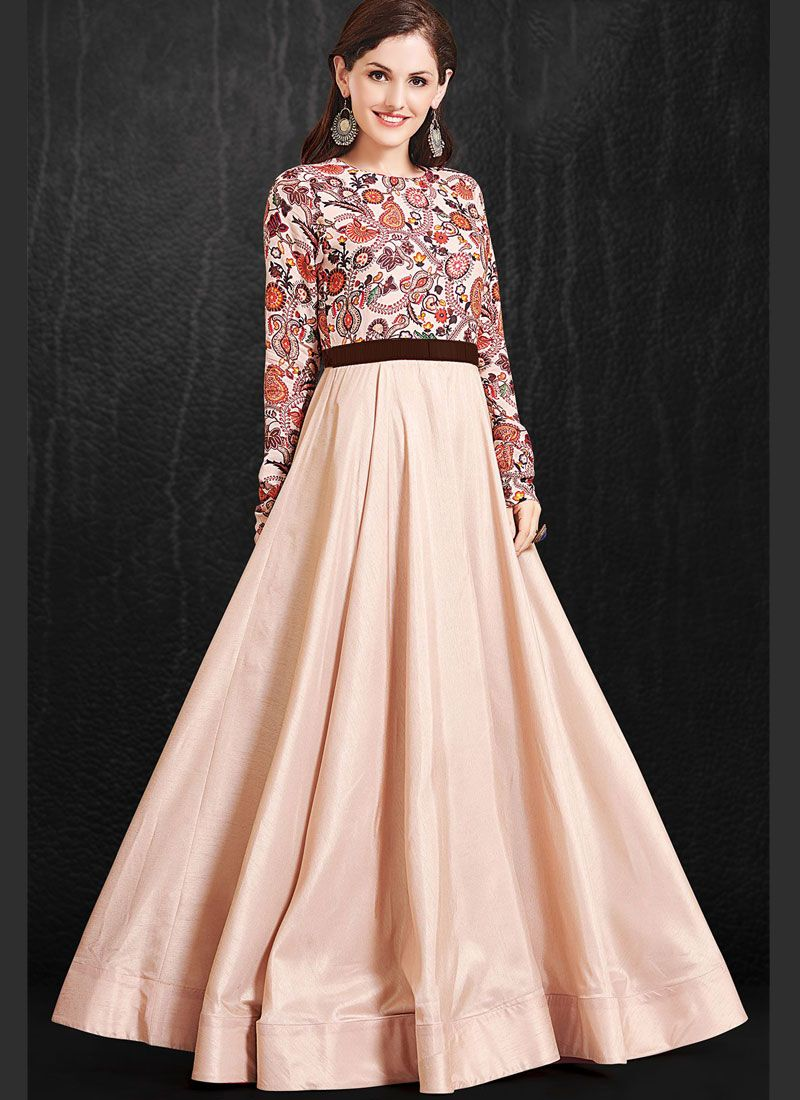Pink Print Muslin Readymade Gown