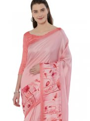 Pink Printed Art Silk Casual Saree
