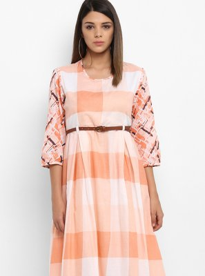 Peach Printed Work Cotton   Party Wear Kurti