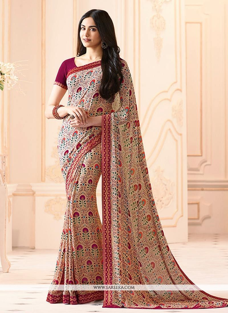 Pink Printed Work Work Georgette Casual Saree
