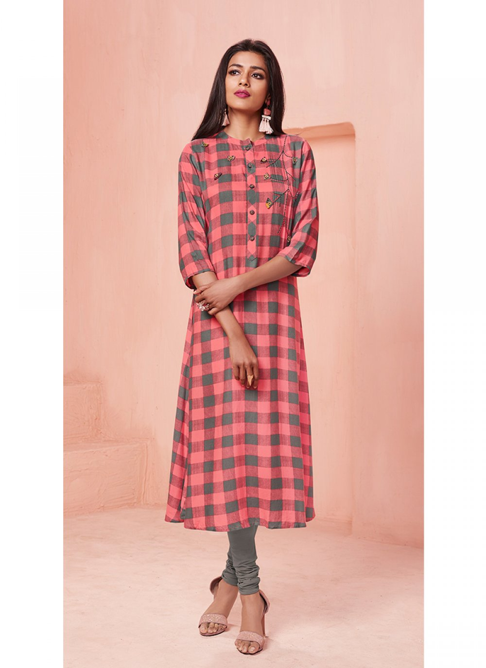 Pink Rayon Print Casual Kurti