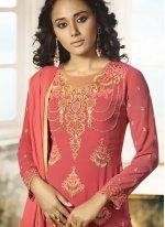 Pink Resham Churidar Designer Suit