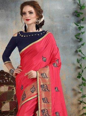 Pink Resham Work Silk Classic Saree