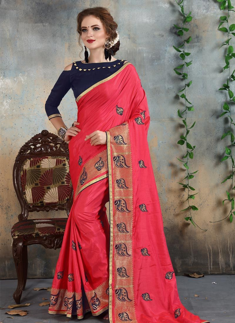 Pink Resham Work Silk Classic Saree