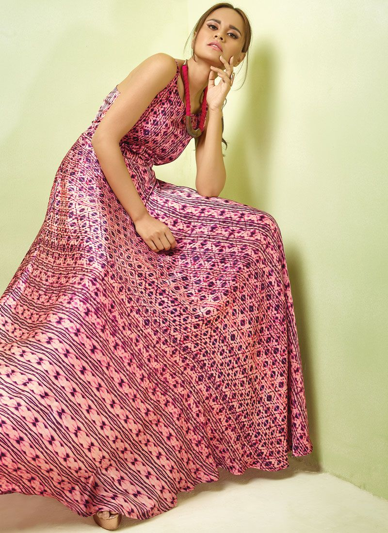 Pink Satin Readymade Gown