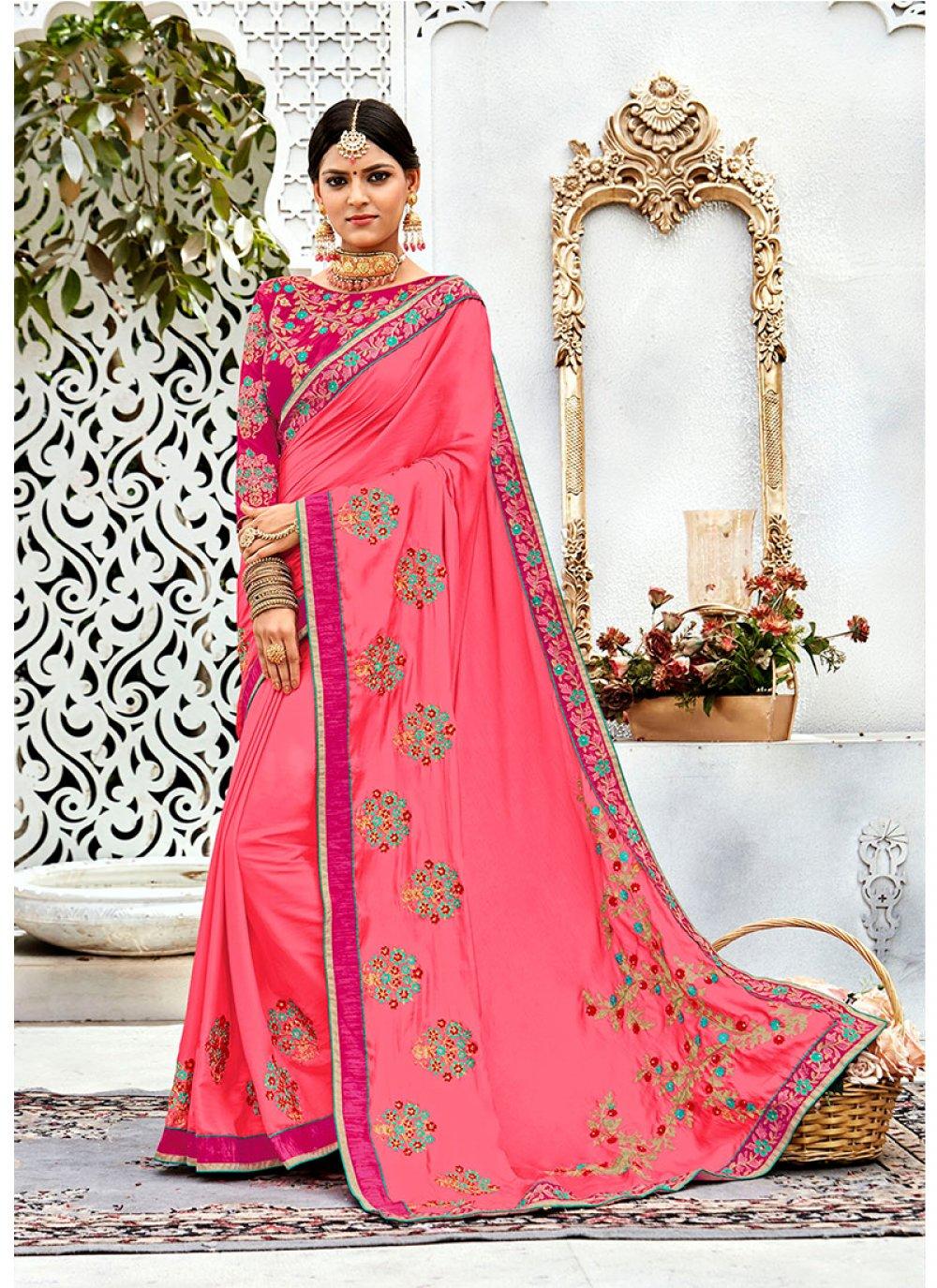 Pink Silk Designer Contemporary Style Saree