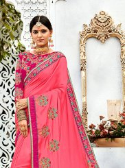 Pink Silk Designer Contemporary Style Saree