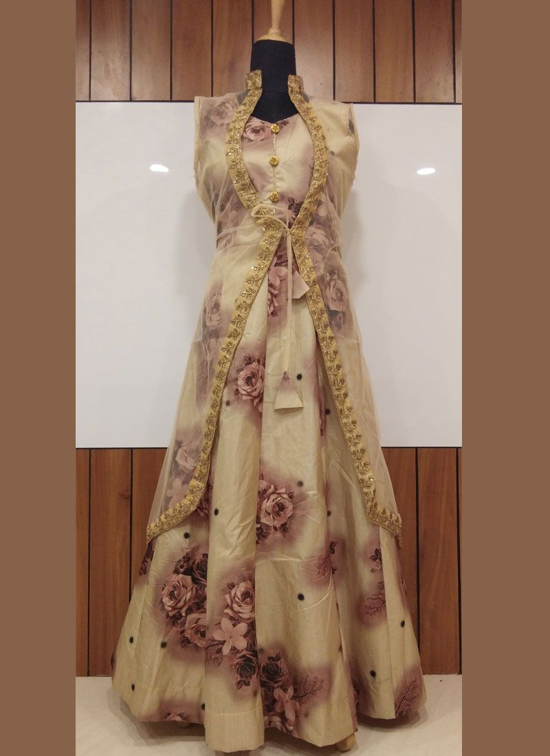 Pink Silk Print Trendy Gown