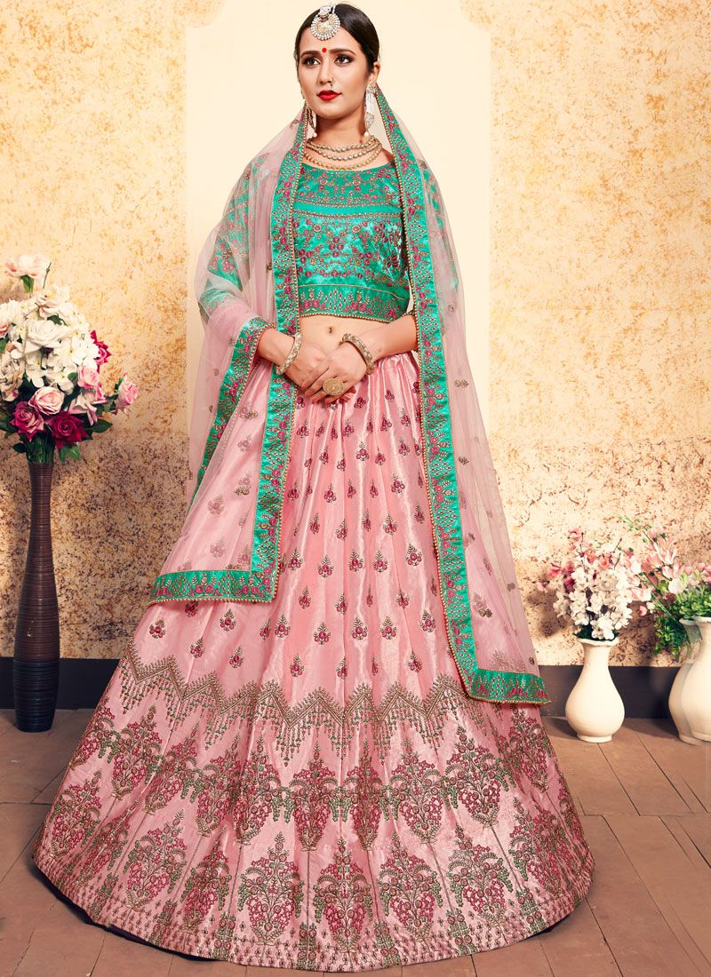 Pink Stone Satin Designer Lehenga Choli