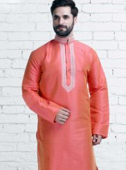 Pink Wedding Art Silk Kurta Pyjama