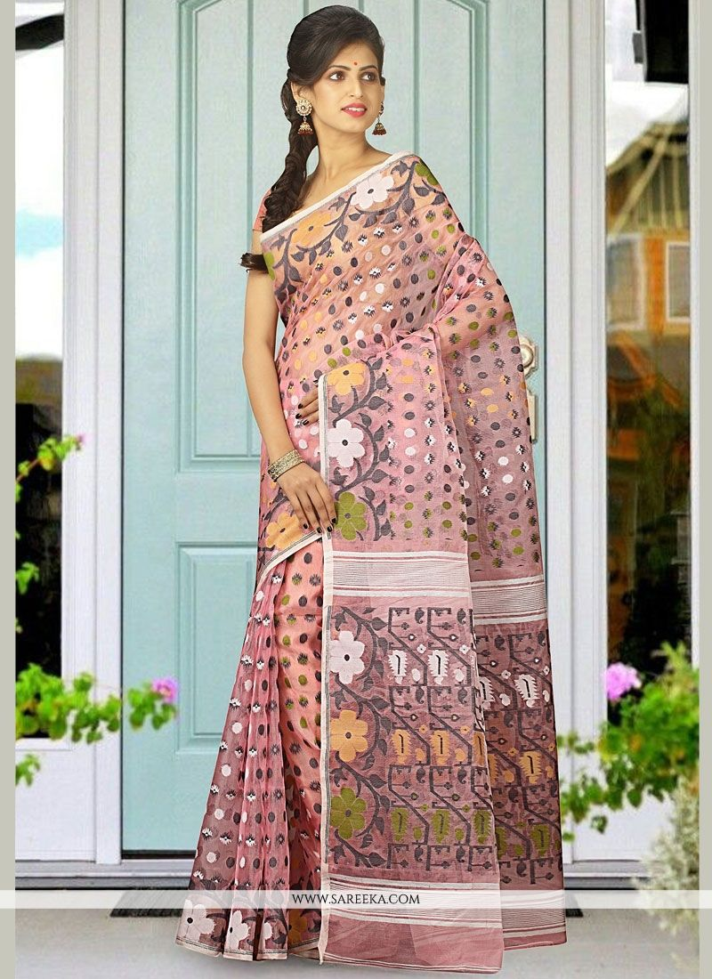 Pink woven Work Cotton Silk Traditional Designer Saree