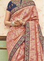 Pink Zari Work Art Silk Traditional Designer Saree