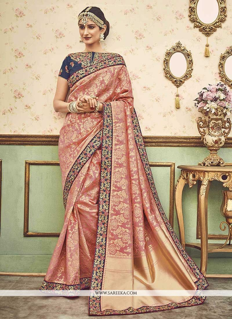 Pink Zari Work Art Silk Traditional Designer Saree
