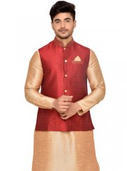 Plain Art Silk Kurta Payjama With Jacket in Gold
