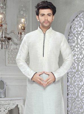 Plain Art Silk Kurta Pyjama in Off White