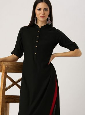 Plain Black Rayon Casual Kurti