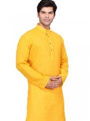 Plain Cotton   Kurta Pyjama in Yellow