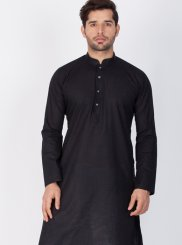 Plain Cotton Silk Kurta Pyjama in Black