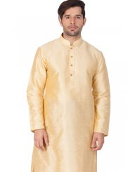 Plain Cotton Silk Kurta Pyjama in Gold