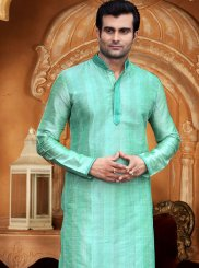 Plain Dupion Silk Kurta Pyjama in Sea Green