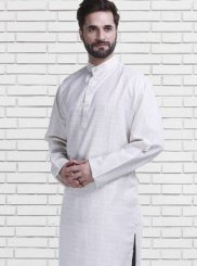 Plain Poly Cotton Kurta Pyjama in Off White