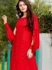 Plain Rayon Designer Kurti in Red