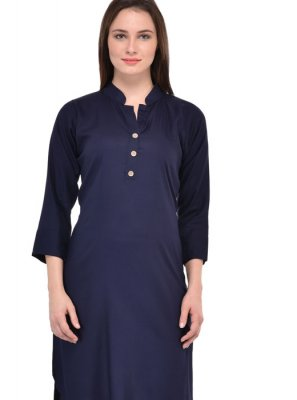Plain Rayon Navy Blue Casual Kurti