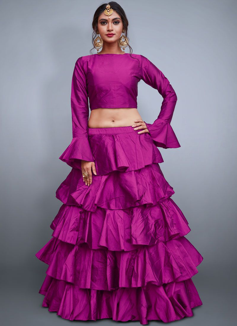 Plain Tafeta Silk Readymade Lehenga Choli