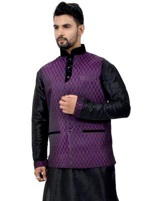 Plain Work Art Silk Black Kurta Payjama With Jacket