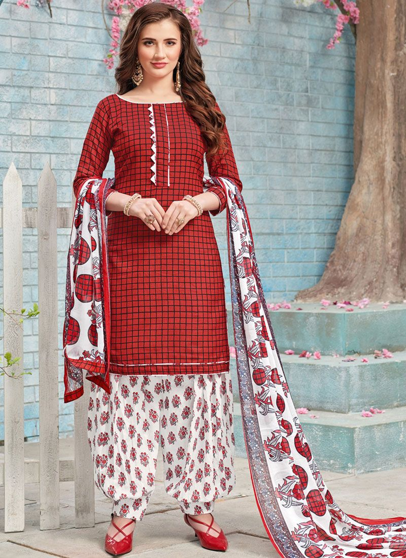 Poly Cotton Maroon Punjabi Suit