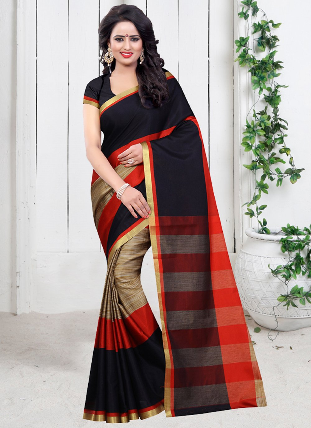 Poly Cotton Plain Black Traditional  Saree