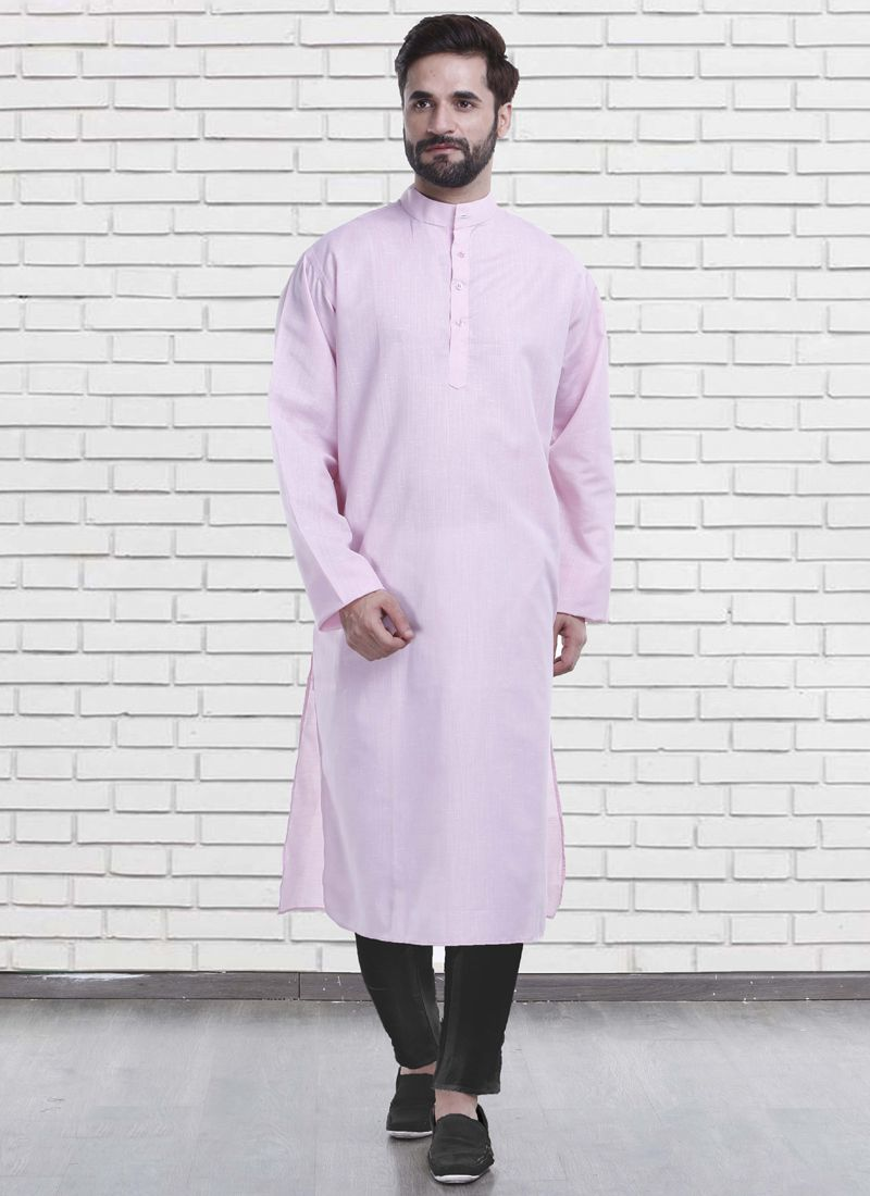 Poly Cotton Plain Pink Kurta Pyjama