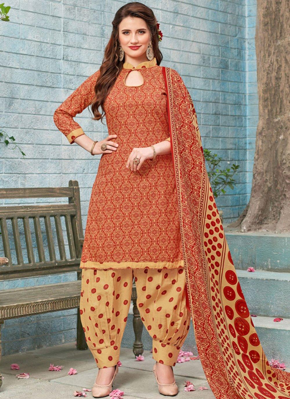 Poly Cotton Printed Work Punjabi Suit