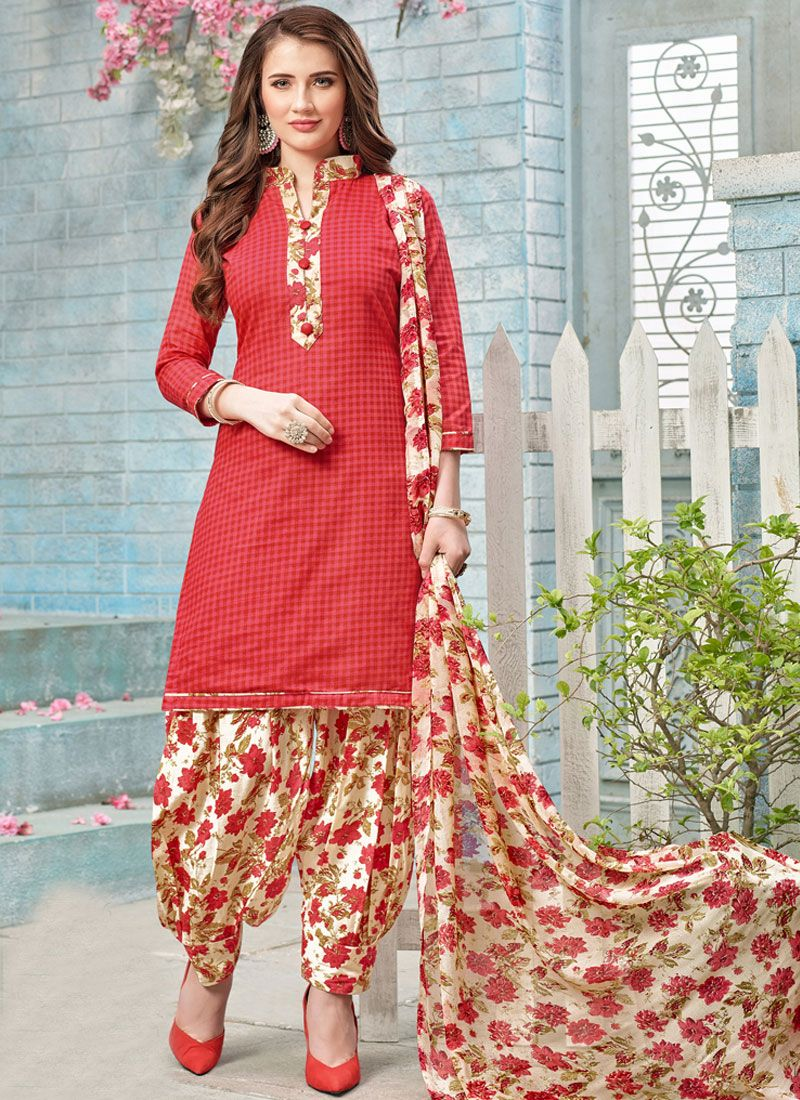 Poly Cotton Red Punjabi Suit