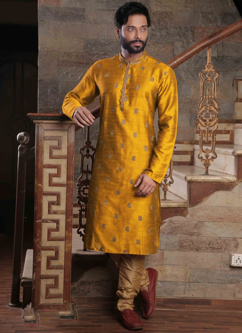 Poly Silk Embroidered Yellow Kurta Pyjama