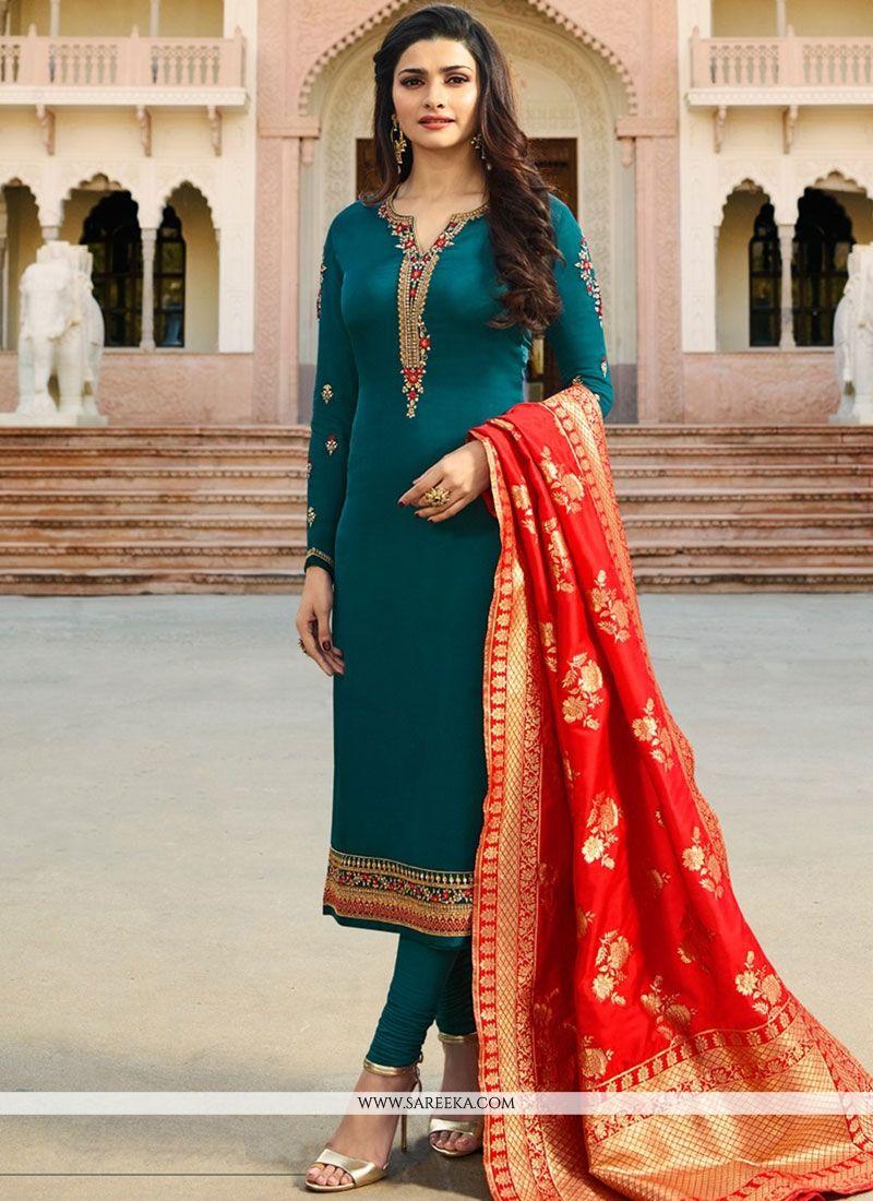 Prachi Desai Teal Resham Work Churidar Designer Suit