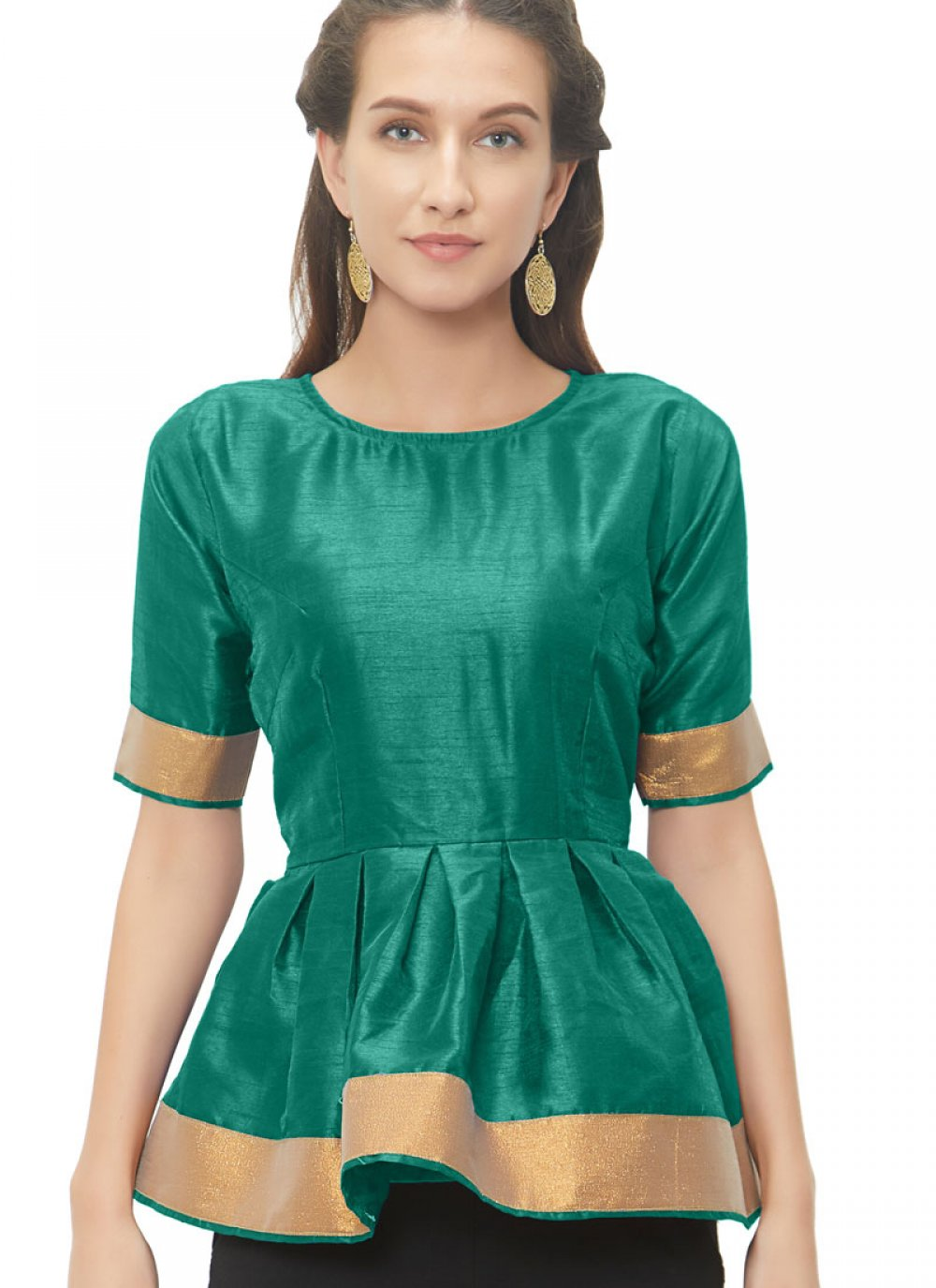 Prepossessing Teal Color Readymade Blouse