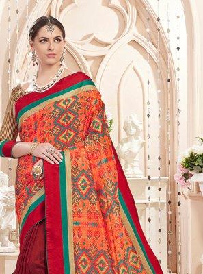 Print Art Silk Maroon and Orange Classic Saree