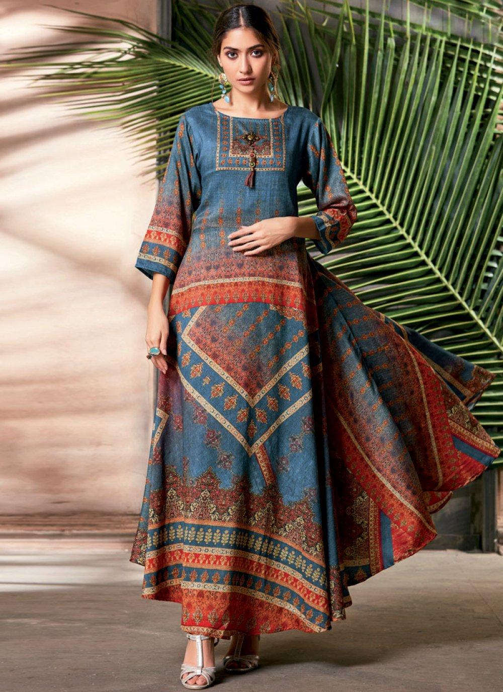 Print Art Silk Party Wear Kurti in Multi Colour