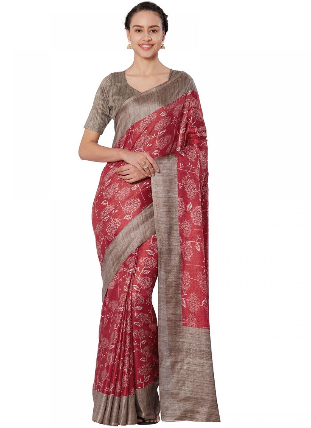 Print Art Silk Red Casual Saree