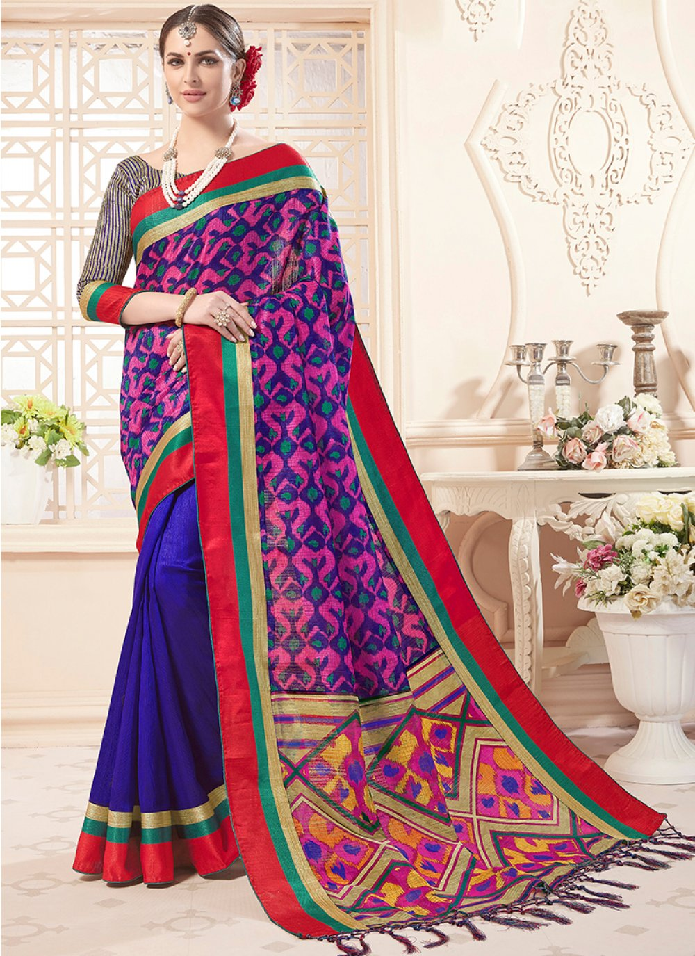 Print Blue Art Silk Designer Saree