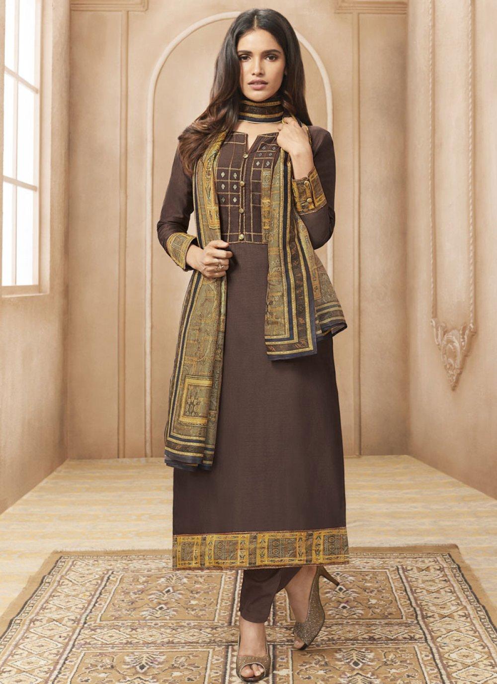 Print Brown Chanderi Designer Straight Suit