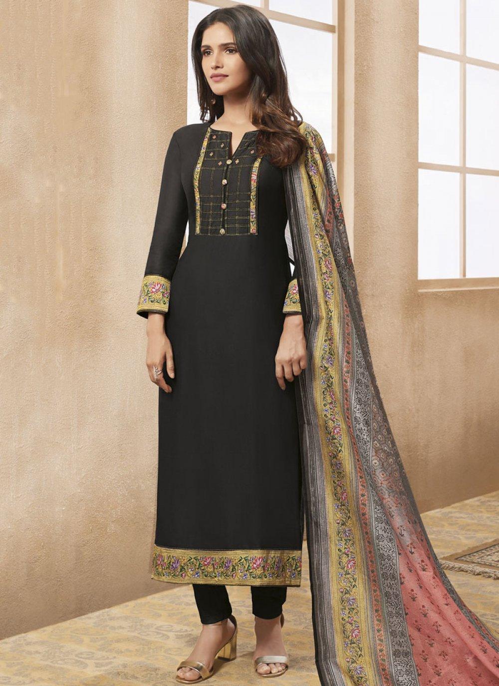 Print Chanderi Designer Straight Suit in Black