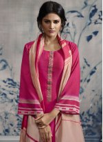 Print Chanderi Hot Pink Designer Palazzo Suit